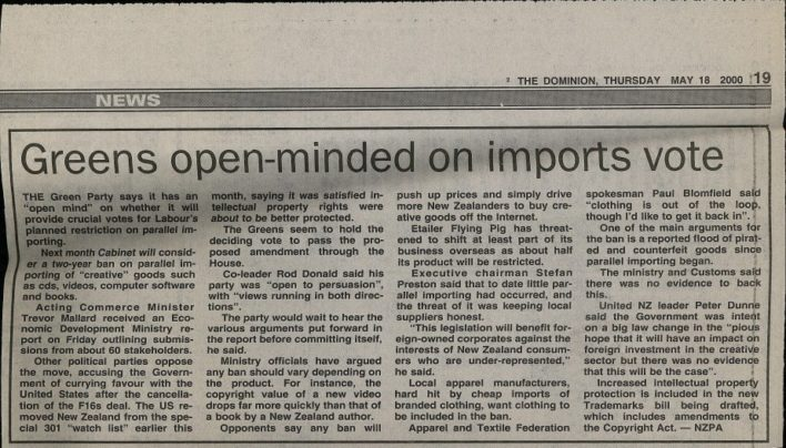 """Greens open-minded on imports vote"", The Dominion, 18th May 2000"
