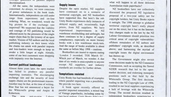 """Bringing it in: the NZ parallel importing debate"", Australian Bookseller & Publisher magazine, 1st March 2001"