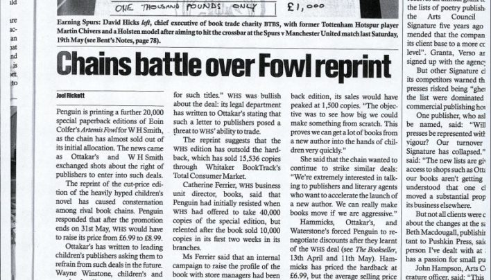 """Chains battle over Fowl reprint"", The Bookseller, 25th May 2001"