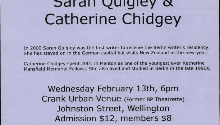 Sarah Quigley & Catherine Chidgey event, 13th February 2002