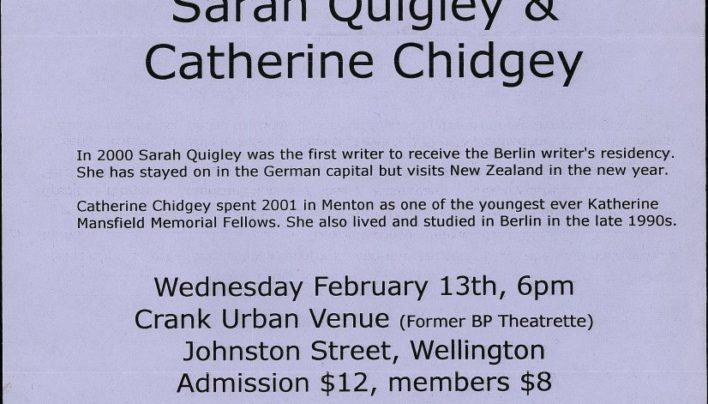 Sarah Quigley & Catherine Chidgey event, 13th February 2002