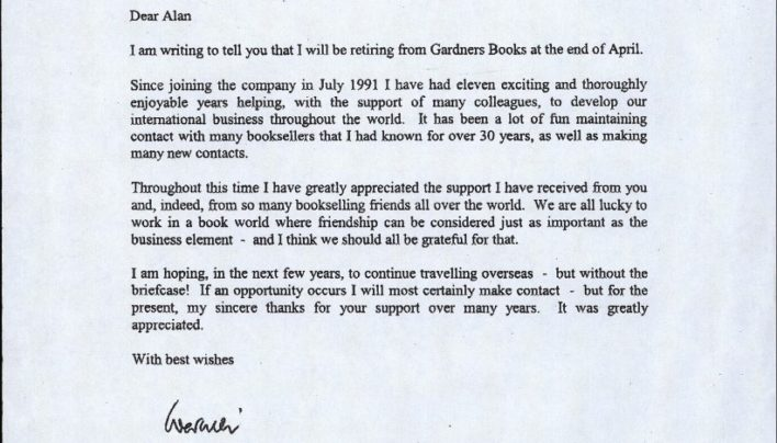Warwick Bailey retires from Gardners, 16th April 2002