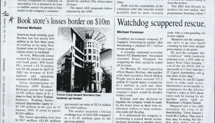 """Book store's losses border on $10m"" article, Denise McNabb, 31st July 2002"