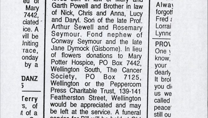 Bill Sewell's death notice, 29th January 2003