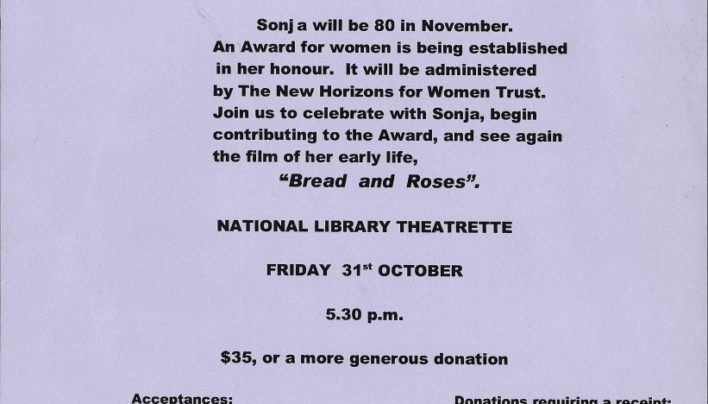 Sonja Davies Peace Award Fundraiser, 31st October 2003