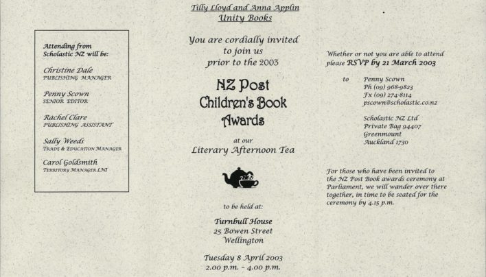 NZ Post Children's Book Awards Invitation, 8th April 2003