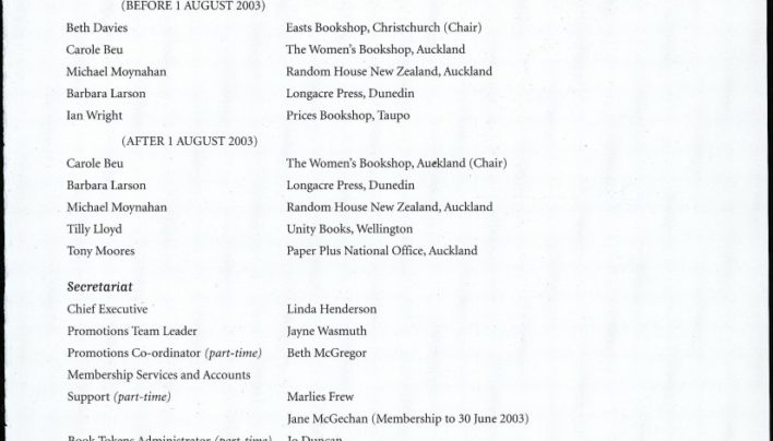 Booksellers NZ Board of Directors, 2003-2004