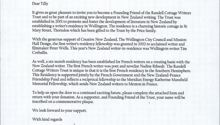 Randell Cottage Writers Trust letter, 30th March 2004