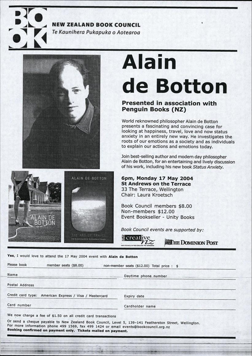 Alain de Botton event, 17th May 2004 | Unity Books