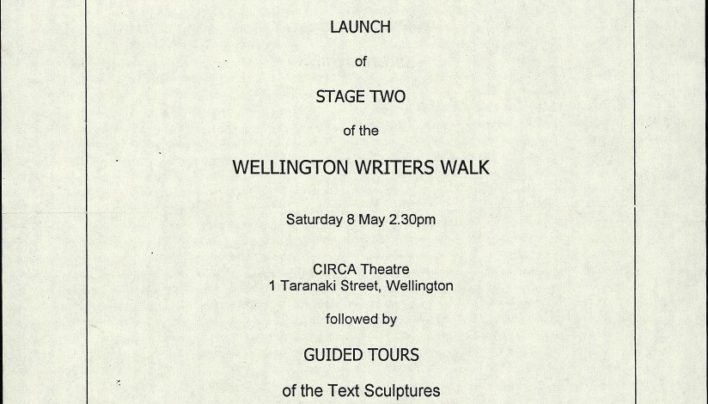 Wellington Writers Walk, Stage Two, 8th May 2004