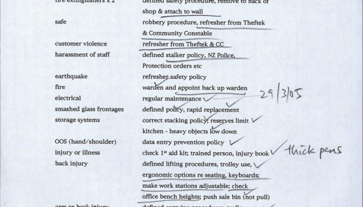 Health & Safety to-do list, 27th March 2005
