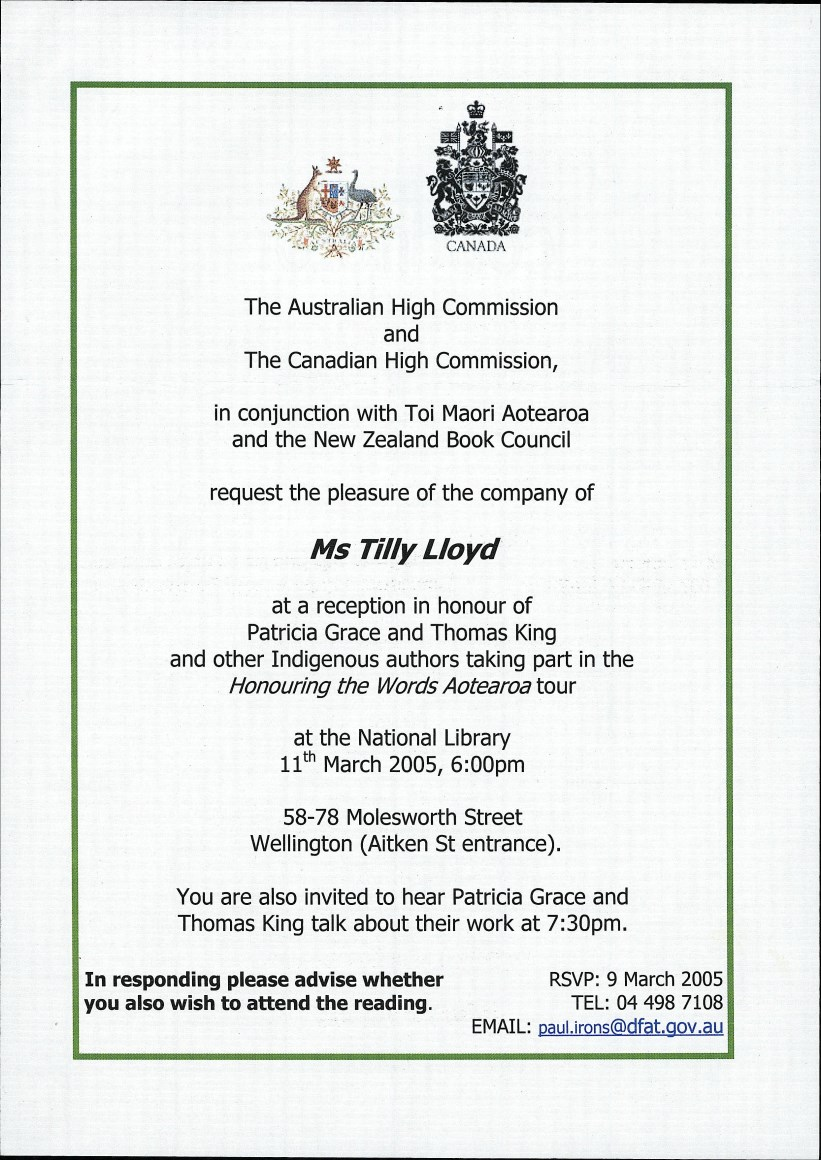 honouring the words invitation 9th march 2005 unity books
