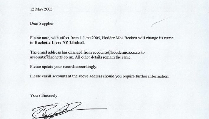 Hodder Moa Beckett becomes Hachette Livre NZ Limited, 12th May 2005