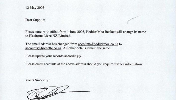 Hodder Moa Beckett becomes Hachette Livre NZ Limited, 12th May 2005