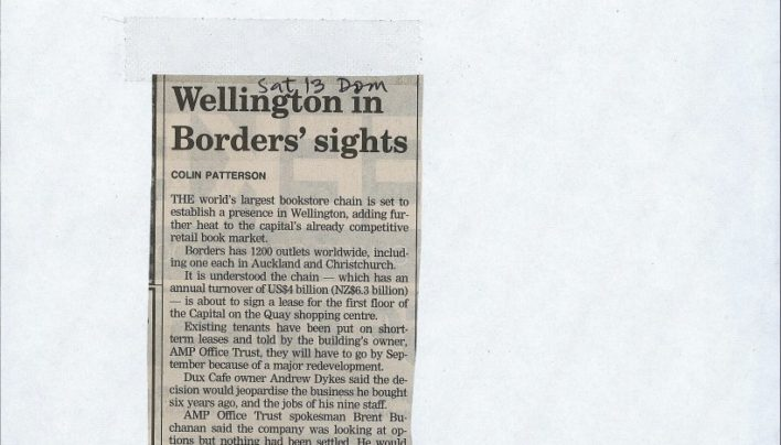 """Wellington in Borders' sights"", Dominion Post, 3rd May 2006"