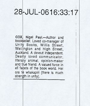 Nigel Cox dies, 28th July 2006