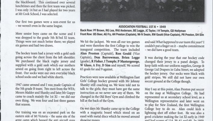 """Wellington College Soccer, Sixty Years On"", Sports News, 2006"