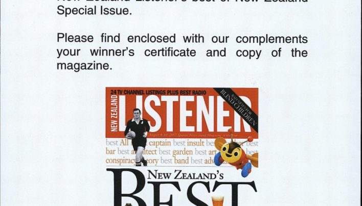 """Best Bookshop"", New Zealand Listener's best of New Zealand, 2007"
