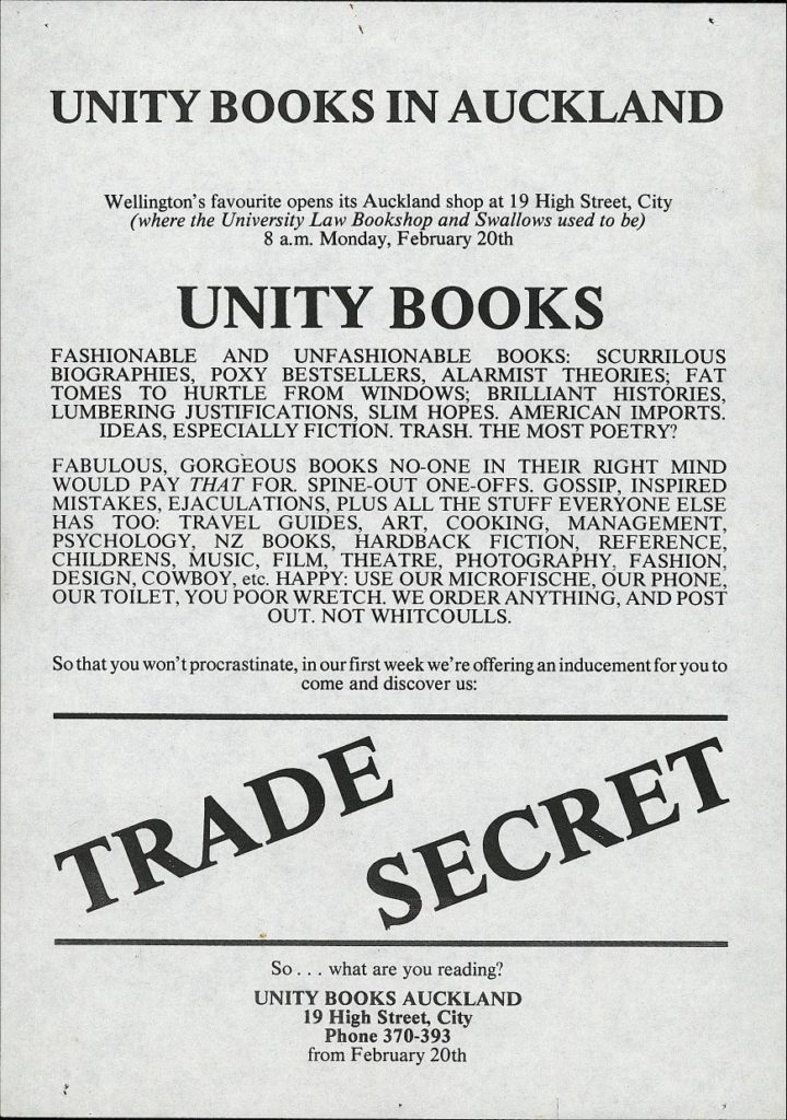 Unity Books in Auckland, 20th February 1989 | Unity Books