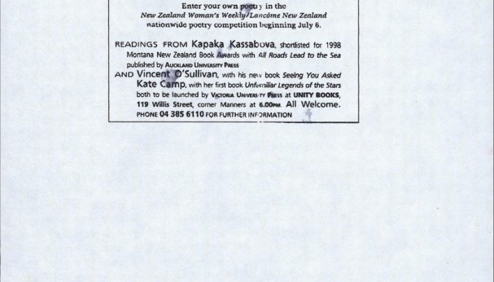 The first New Zealand National Poetry Day, 10th July 1998