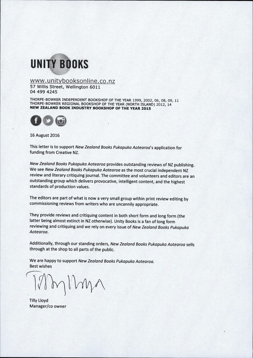 NZ Books letter of support, 16th August 2016 | Unity Books