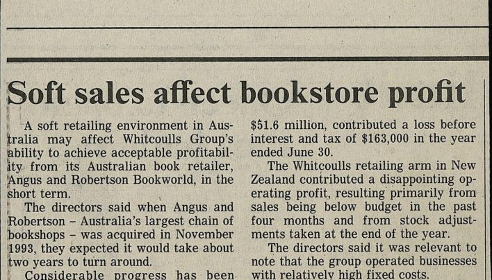 """Soft sales affect bookstore profit"" article, Evening Post, 4th October 1995"