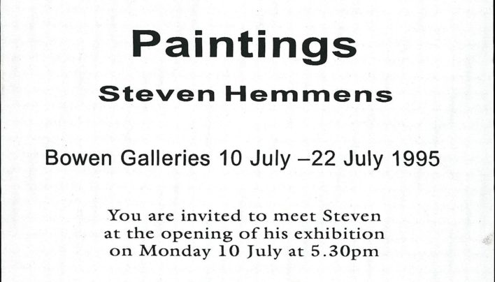Steven Hemmens exhibition advertisement, 10th July 1995