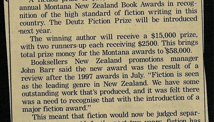 """Fiction prize added to NZ book awards"", Evening Post, 10th October 1997"