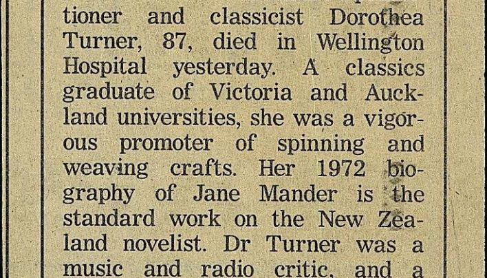 Obituaries for Dorothea Turner, 14th August 1997