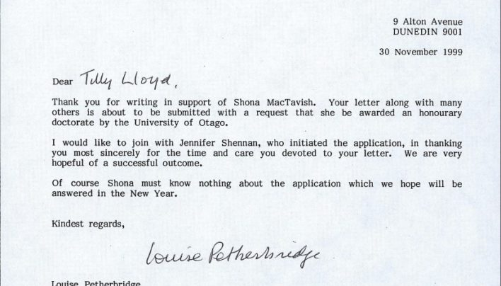 Shona McTavish nominated for honorary doctorate, 30th November 1999