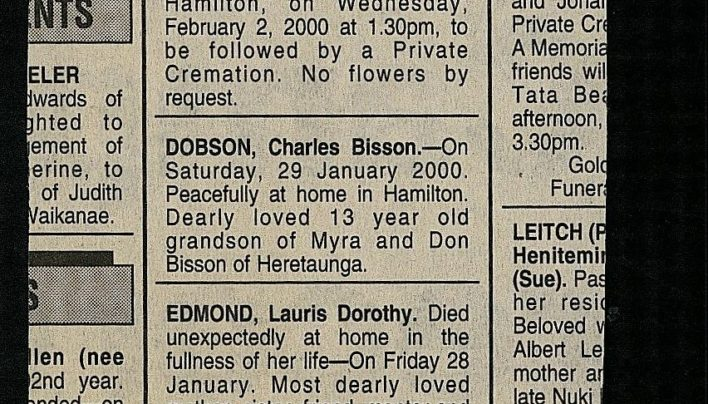 Death notices for Lauris Edmond, 31st January 2000
