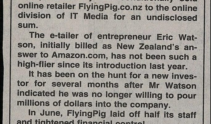 FlyingPig sale, Dominion Post, 8th November 2000