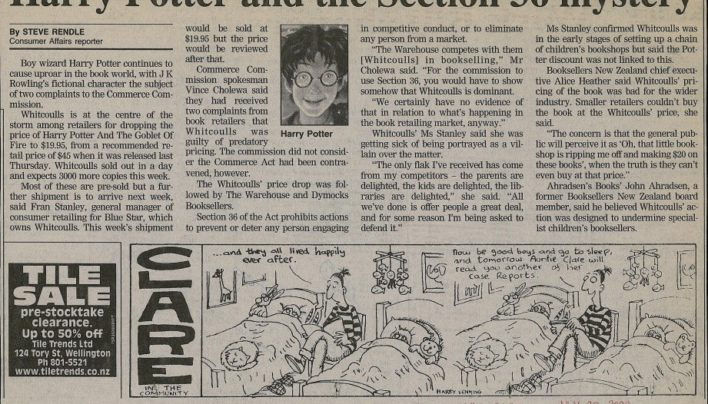 """""""Harry Potter and the Section 36 mystery"""", Evening Post, 30th July 2000"""