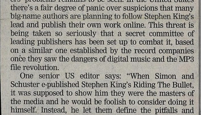 """A chill runs down their spine"", Evening Post, 31st January 2001"