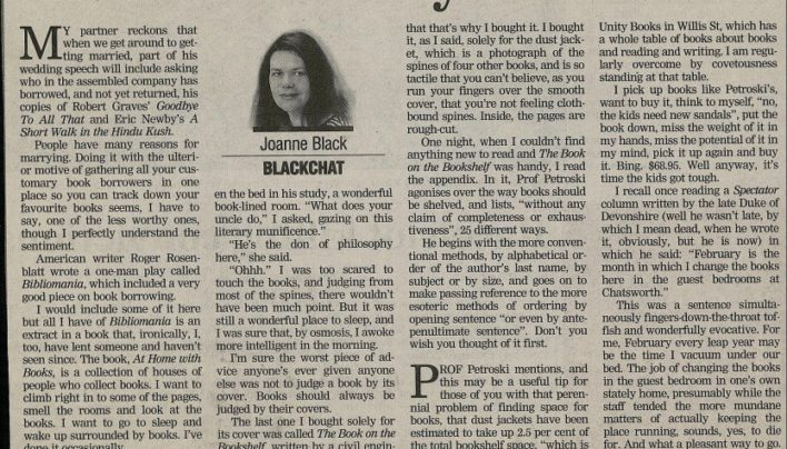 """I do – have your book"", Dominion Post, 21st October 2001"