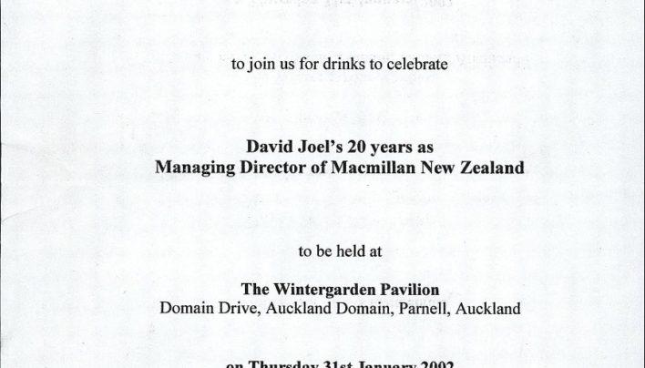David Joel's 20th anniversary, 31st January 2002