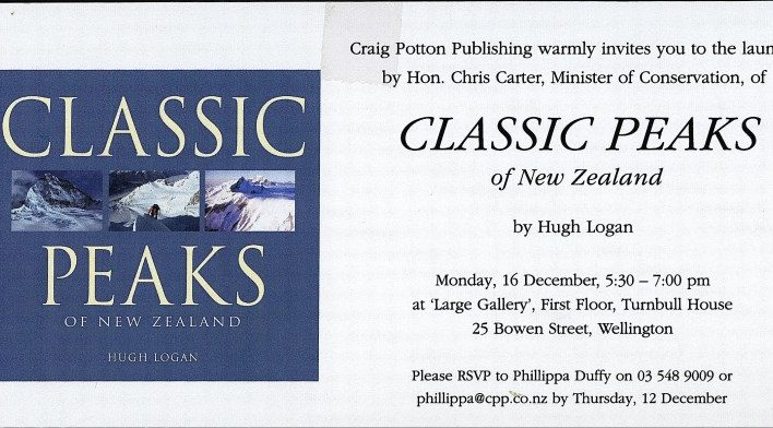 Classic Peaks of New Zealand launch, 16th December 2002