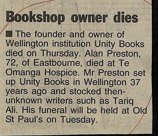 Alan Preston's death notices, 2nd September 2004 | Unity Books