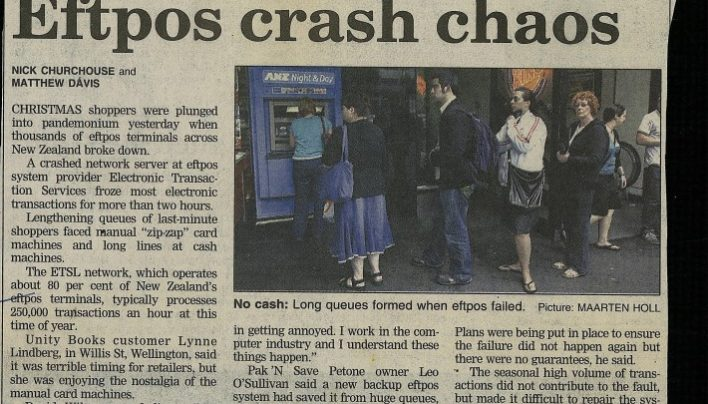 """Eftpos crash chaos"", Dominion Post, 24th December 2005"