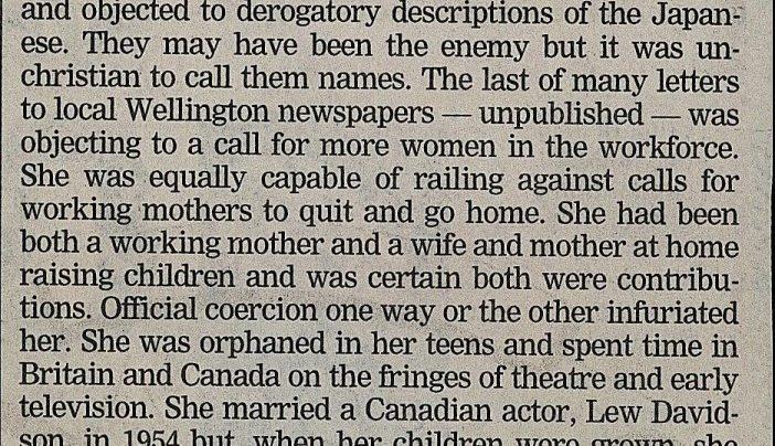 Anna Woods' obituary, 16th February 2005