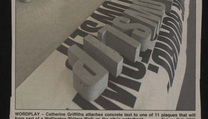"""Writers' words writ large in concrete for waterfront"", The Evening Post, February 2002"