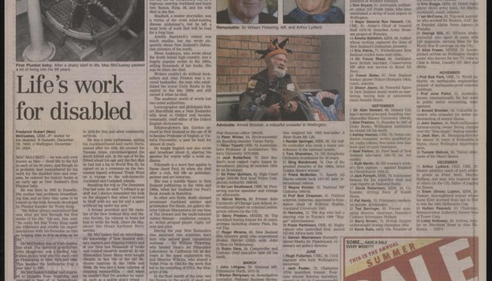 Literary Obituaries from 2004, Dominion Post, 6th January 2005