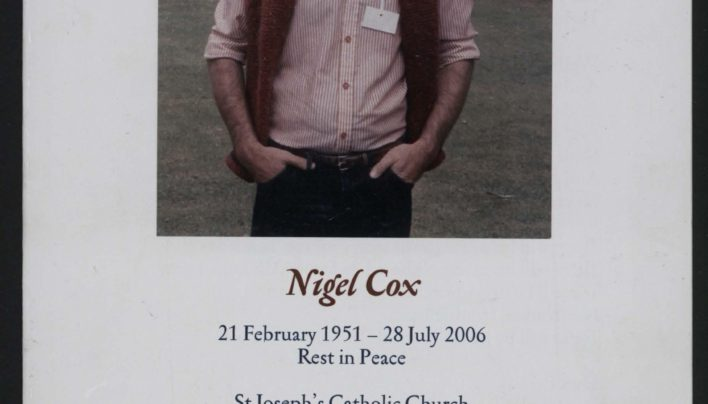 Order of service for Nigel Cox, 31st July 2006