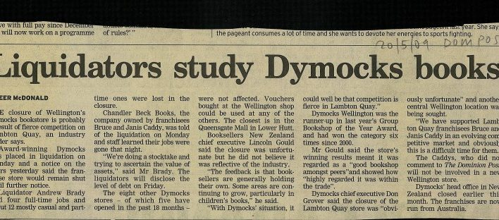 """Liquidators study Dymocks books"", Dominion Post, 20th May 2009"