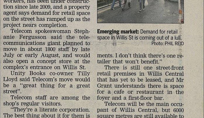 """Telecom HQ set to get tills ringing merrily in Willis St"", 20th June 2011"
