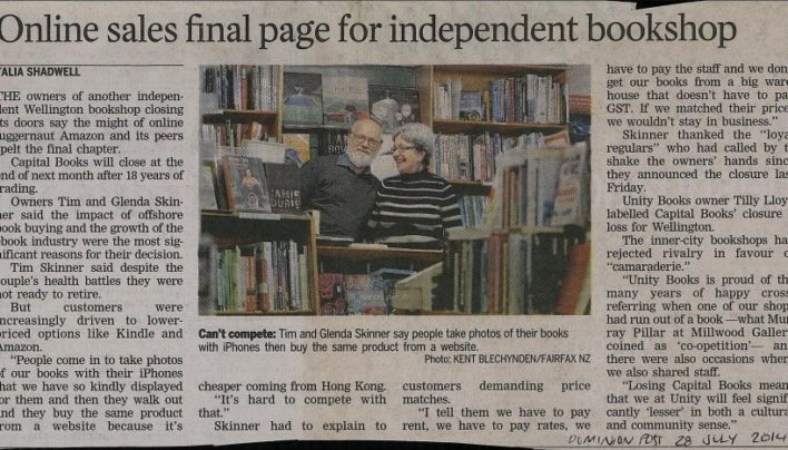"""Online sales final page for independent bookshop"", Dominion Post, 28th July 2014"