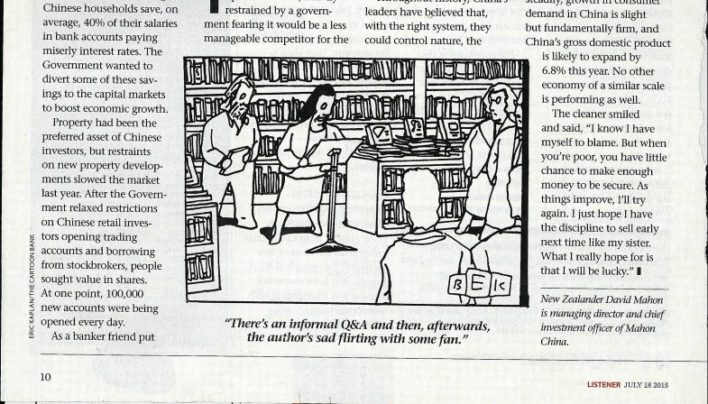 Book launch cartoon, The Listener, 18th July 2015