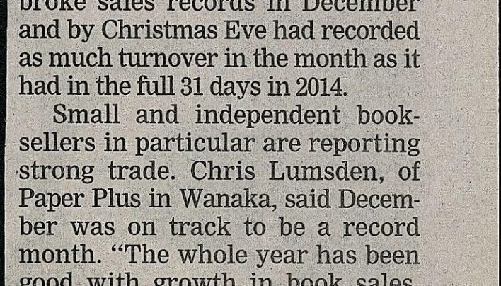 """Book sales smash hit for Christmas"", Dominion Post, 2015"
