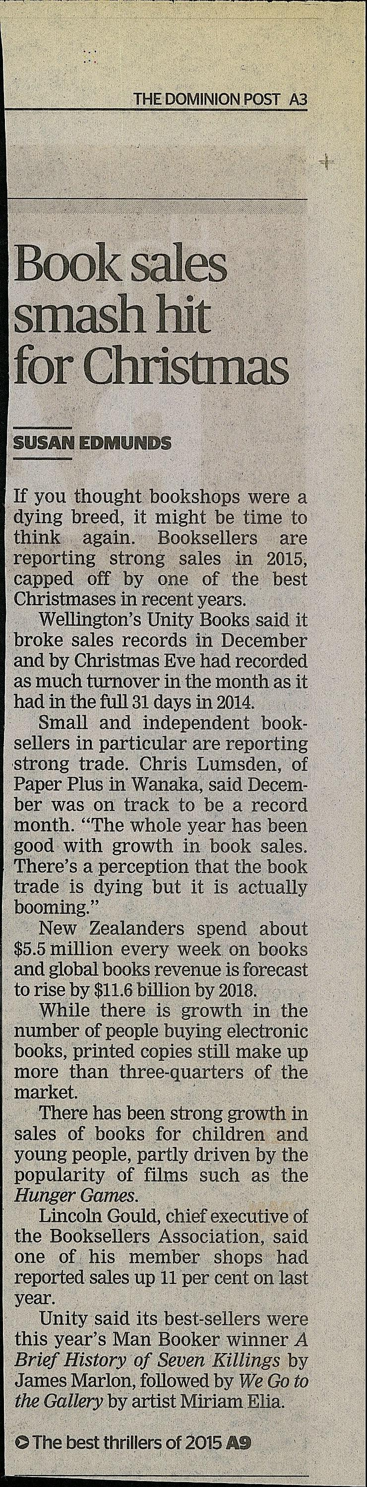 "Book sales smash hit for Christmas"", Dominion Post, 2015 