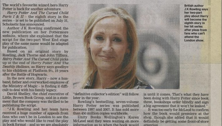 """Author conjures up 8th Potter book"", Dominion Post, 12th February 2016"